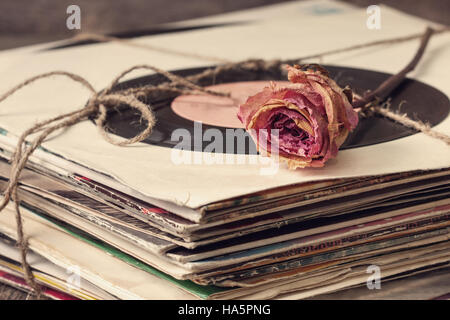 dry rose on a pile of old vinyl records in vintage style - Stock Photo