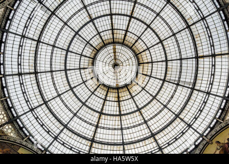 a view of vittorio emanuele gallery in milan, italy - Stock Photo