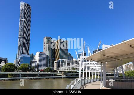 BRISBANE, AUSTRALIA - September 28, 2016: The Kurilpa footbridge links the Roma Street area of the CBD with Brisbane's - Stock Photo