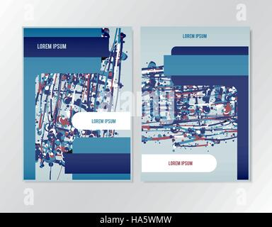 Booklet brochure flyer design template. Page in A4 size format suitable. Vector layout with splatter colorful elements. - Stock Photo