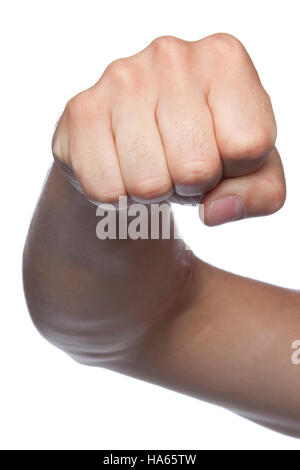 fist symbol of violence, a hand isolated on a white background - Stock Photo