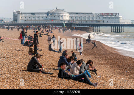 A bright spring morning on Brighton beach. - Stock Photo