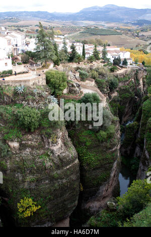 El Tajo Gorge and surrounding countryside, Ronda Andalucia Spain - Stock Photo
