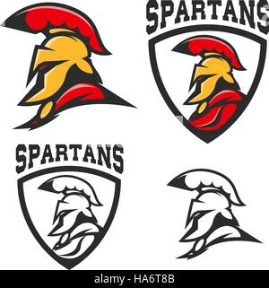 Set of emblems with  Spartan helmet . Design element for logo, label, sign, brand mark. Vector illustration. - Stock Photo