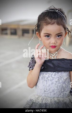 SIPALAY,PHILIPPINES-OCTOBER 13,2016: Aspiring small part in beauty contest on October 13, Sipalay,Philippines. - Stock Photo