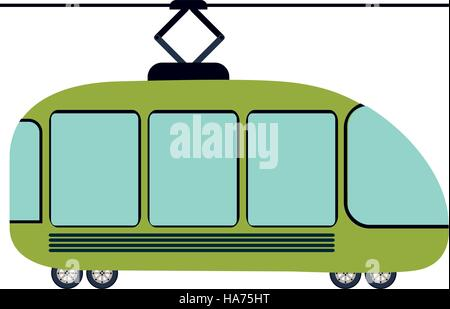 colorful silhouette with trolley car vector illustration - Stock Photo