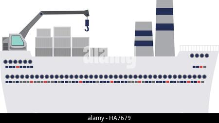 tanker cargo ship with containers vector illustration - Stock Photo