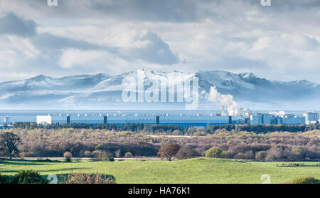 Arran Hills in Snow bigger than Industry - Stock Photo