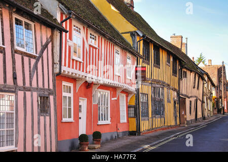 Half-timbered medieval cottages, Water Street, Lavenham, Suffolk, England, United Kingdom - Stock Photo