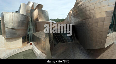 Guggenheim Museum in Bilbao designed by Frank Gehry. Bilbao is situated in Basque country in the province of Biscay - Stock Photo