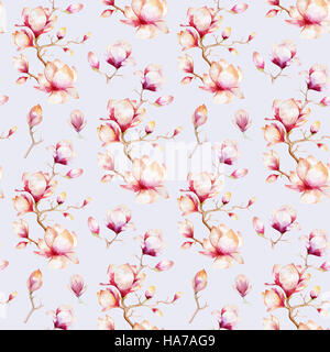 Watercolor seamless wallpaper with  magnolia flowers, leaves. - Stock Photo