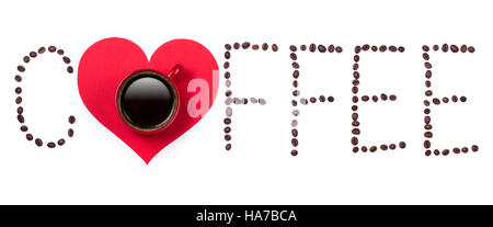 Coffeebeans text and red coffee cup with red heart on white background - Stock Photo