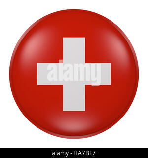 3d rendering of  Switzerland flag on a button - Stock Photo