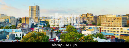 Panoramic view of Bucharest downtown in the morning light. Romania - Stock Photo