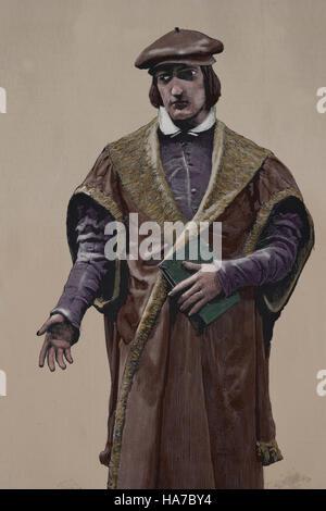 Juan Luis Vives (1493-1540). Spanish humanist and philosopher. Portrait. Engraving, 19th century. Color. - Stock Photo
