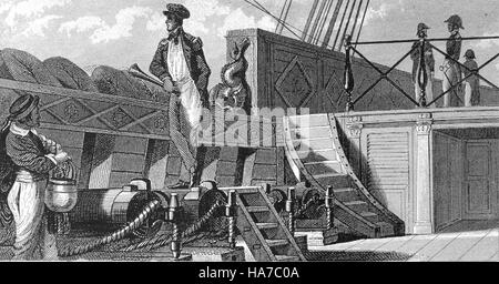 History of navigation. Offecer on watch. Iconographic Encyclopaedia of science, Literature and Art, 19th century. - Stock Photo