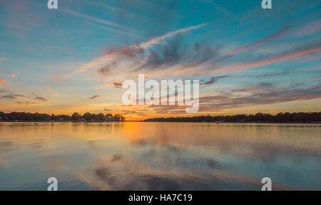 Vivid sunset in Sag Harbor NY - Stock Photo