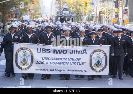 Veterans Day Parade; also known as America's Parade; marches up 5th Avenue in New York City. Navy personnel from - Stock Photo