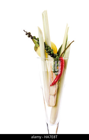 Lemon grass, green pepper panicle, hot pepper and a mini-aubergine - Stock Photo