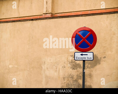European Bus Stop  No Parking Sign with Copy Space - Stock Photo