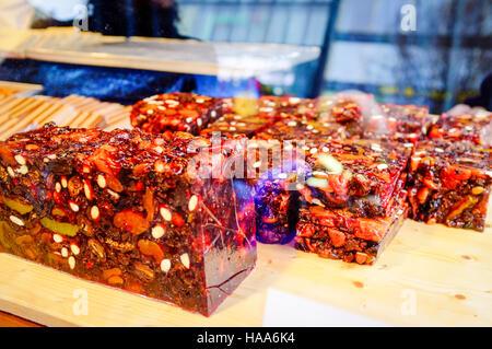 Christmas market fruit cake - Stock Photo