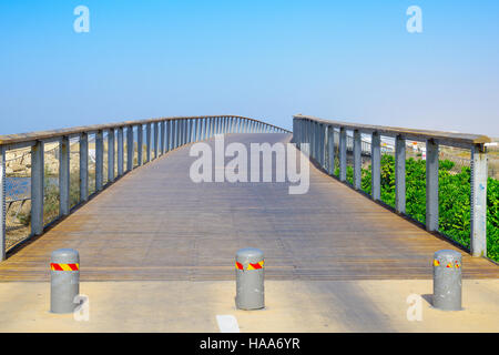 A foot bridge, part of the beach promenade, north of the port compound, in Tel-Aviv, Israel - Stock Photo