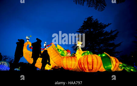 Members of the public at the Magical Lantern Festival Yorkshire at Roundhay Park In Leeds. - Stock Photo