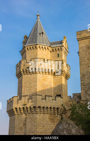 Tower of the historical castle of Olite, Spain - Stock Photo