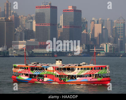 China, Hong Kong, Star Ferry, Sheung Wan, skyline, - Stock Photo