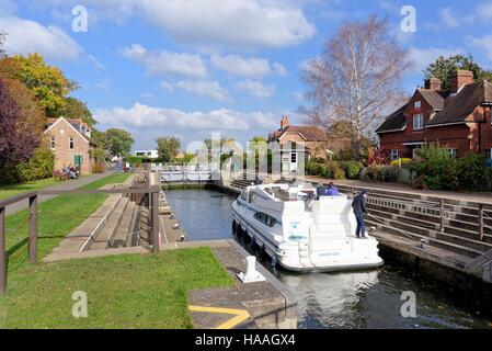 Old Windsor lock on the River Thames UK - Stock Photo