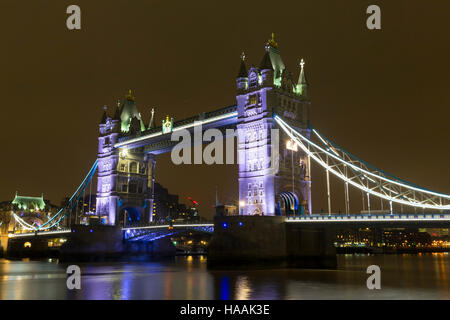 Tower Bridge, at Night from the South Bank, London, England, UK - Stock Photo