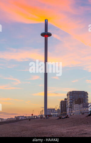 Brighton's newest attraction the British Airways i360 is a 162m High viewing platform. - Stock Photo