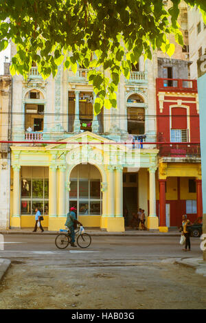 Havana Cuba, colorful street scene shop frontage man on bicycle pedestrians sunlight and tree branches top of frame - Stock Photo