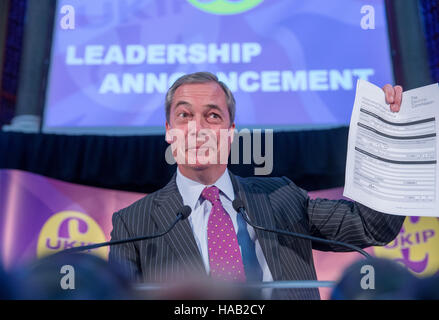 Former UKIP leader,Nigel Farage,makes a speech ahead of the announcement of the new leader of UKIP,Paul Nuttall - Stock Photo