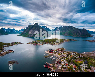 Lofoten islands is an archipelago in the county of Nordland, Norway. Is known for a distinctive scenery with dramatic - Stock Photo