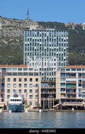 Modernist Town Hall Towers Above Seafront Buildings at Toulon Port or Harbor & Mount Faron Provence France - Stock Photo