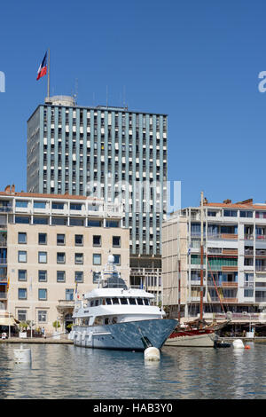 Modernist Town Hall & Seafront  or Waterfront Buildings Around the Port or Harbour Toulon Vzr Provence France - Stock Photo