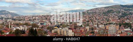 Beautiful view over Sarajevo the capital city of Bosnia and Herzegovina - Stock Photo