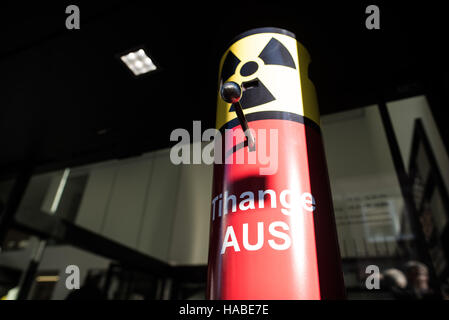 Aachen, Germany. 29th Nov, 2016. An interactive device with which the controversial Belgian nuclear power plant - Stock Photo