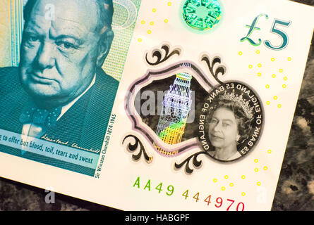 29th November 2016, UK. The new five pound note, or fiver, contains tallow, an animal product, the Bank of England - Stock Photo