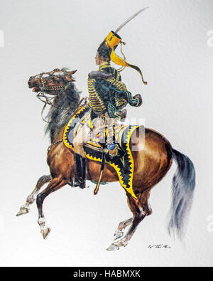 Swedish officer on horseback in uniform of the 1837 Hussar regiment 'Kronprinz' - Stock Photo