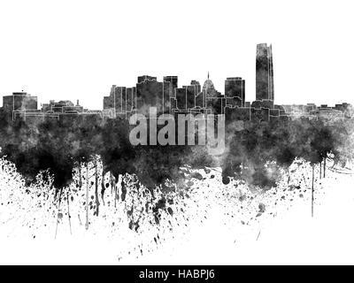 Oklahoma City skyline in black watercolor - Stock Photo