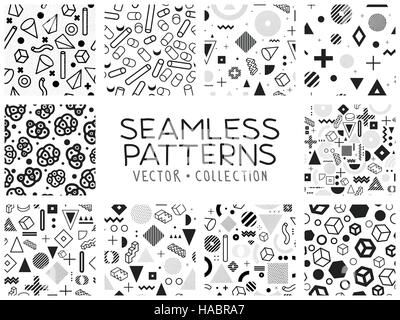 Seamless patterns in Memphis style - Stock Photo