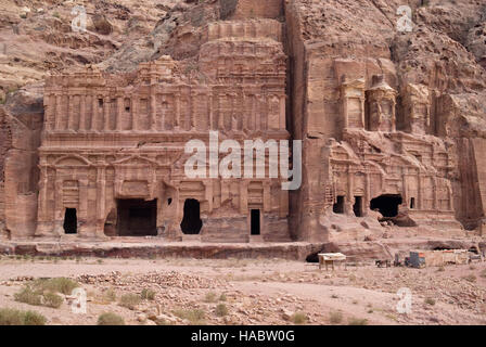 Ruins of Corinthian tomb and the Palace tomb which are part the Royal Tombs, Petra, Jordan - Stock Photo