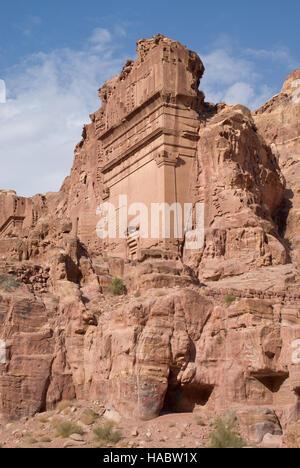 Ruins of Uneishu Tomb, Petra, Jordan - Stock Photo