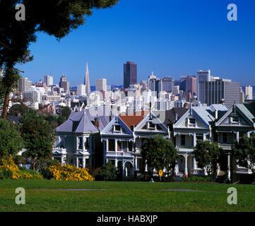 The Painted Ladies, Alamo Square, San Francisco, California, USA - Stock Photo