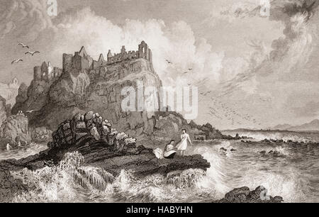 19th Century view of women bathing in the sea below Dunluce Castle, a now-ruined medieval castle located on the - Stock Photo