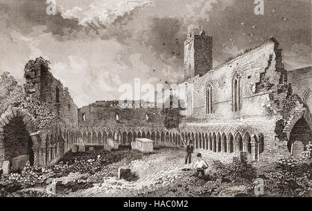 19th Century grave-digger beside the Cloisters in the ruins of the Dominican Abbey of Saint Francis.  Officially - Stock Photo