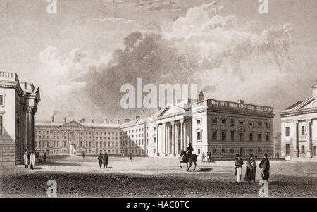 19th Century view of Parliament Square in Trinity College (TCD)  Dublin, Ireland - Stock Photo