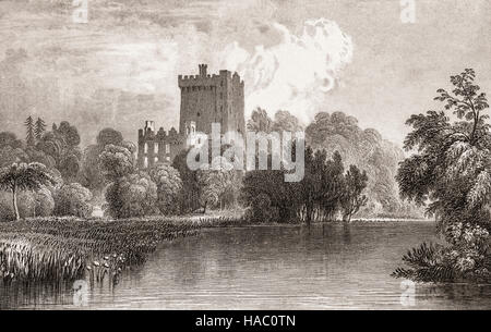19th Century view of Blarney Castle,  loaction of the Blarney Stone, a medieval 15th Century stronghold in Blarney - Stock Photo